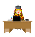 russian hacker matryoshka and laptop ip vector image vector image