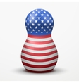 Russian matrioshka in US flag color vector image vector image