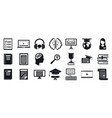 school staff education icons set simple style vector image vector image