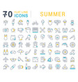 set line icons summer vector image vector image