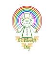 sketch of a irish elf with a rainbow vector image
