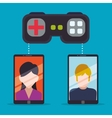 smartphone sharing games online controller vector image