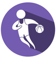 Sport icon for basketball on purple badge vector image vector image