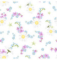 spring summer field flowers mix seamless pattern vector image vector image