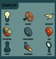 startup color outline isometric icons vector image