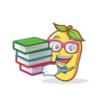 student with book mango character cartoon mascot vector image