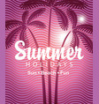 summer tropical banner with palms and waves vector image vector image