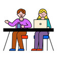 teamwork man and woman colleagues in office vector image