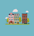 town street with house facades trees and other vector image vector image