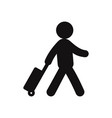 traveler with a suitcase icon vector image