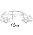 van car body type outline vector image vector image