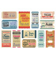 vintage tram tickets isolated templates set vector image vector image
