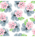 watercolor pink and blue flowers pattern vector image vector image
