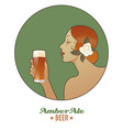 woman holding a glass of beer amber ale vintage vector image