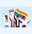 women and men community with rainbow flags to vector image vector image