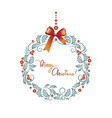 wreath with berries and holly leaves vector image