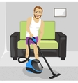 Young man cleaning carpet with vacuum cleaner vector image