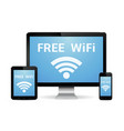 free wifi concept wireless technology devices vector image
