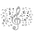 Musical clef with notes vector image
