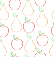 Pears and apples pattern over white background vector image