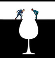 a glass wine men on edge alcoholism vector image vector image