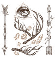 arrows antlers gems and all-seeing eye collection vector image vector image
