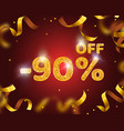 banner 90 off with share discount percentage gold vector image vector image