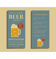 Beer party flyer invitation template with glass of vector image