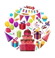 Birthday Elements Round Composition vector image vector image