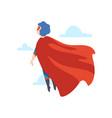 boy wearing superhero costume flying back view vector image vector image