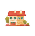 brick suburban private house front view vector image vector image