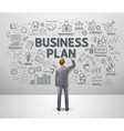 businessman drawing business idea doodles on wall vector image vector image