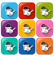 Buttons with a pail and a fork vector image vector image