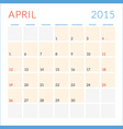 Calendar 2015 flat design template April Week vector image