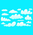 cartoon clouds collection isolated on blue cute vector image vector image