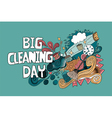 Cartoon hand drawn Doodle Big Cleaning Day vector image