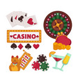 casino equipment for gambling and glasses with vector image vector image