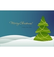 Christmas tree on blue background card vector image vector image
