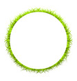 circle green frame with grass on white background vector image vector image