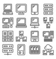 computer hardware icons set on white background vector image