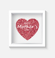 confetti red heart on grey background in frame vector image vector image