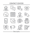Contact Us Lines Icon Set vector image vector image