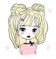 cute bagirl doll princess hand drawn vector image vector image