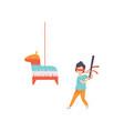 cute boy breaking pinata with baseball bat kid vector image vector image