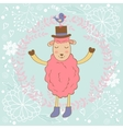 Cute Christmas card with sheep and bird vector image vector image