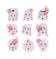female faces icons informal girls feminism vector image vector image