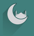 flat islamic icon with mosque and moon vector image vector image