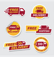 free delivery badge sticker set label design vector image