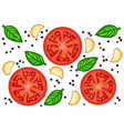 fresh red tomato slices with garlic basil and vector image