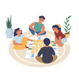 friends kids teens playing board game sitting on vector image